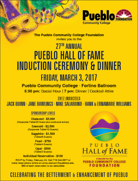 Reservations Open for 2017 Pueblo Hall of Fame